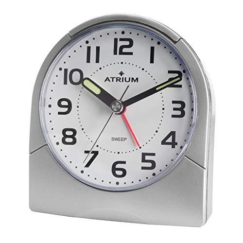 Atrium Klassischer Wecker Licht Leuchtzeiger analog Quarz ohne Ticken Silber grau A218-19