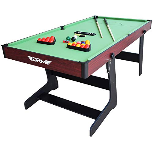 DRM 6FT Folding Snooker/Pool Table Space Saving Billiards Table With Balls And Other Accessories