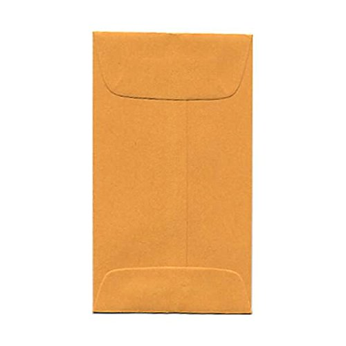 JAM PAPER #3 Coin Business Colored Envelopes - 2 1/2 x 4 1/4 - Brown Kraft Manila - 25/Pack