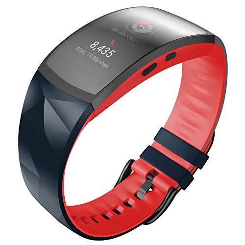 ANBEST Pulsera de Silicona Compatible con Samsung Gear Fit 2/Gear Fit 2 Pro Correa de Repuesto para Gear Fit 2 Pro SM365/Gear Fit 2 SM-360 Smart Watch, Grande, Piedra/Rojo