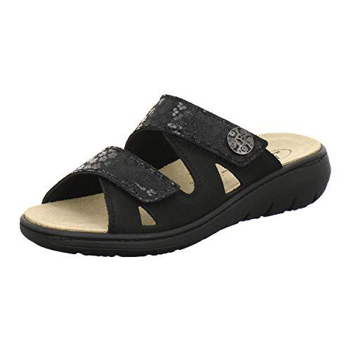 AFS-Schuhe 2808, komfortable Damen-Pantoletten aus Leder, praktische Arbeitsschuhe mit Wechselfußbett, Bequeme Hausschuhe (41 EU, schwarz)