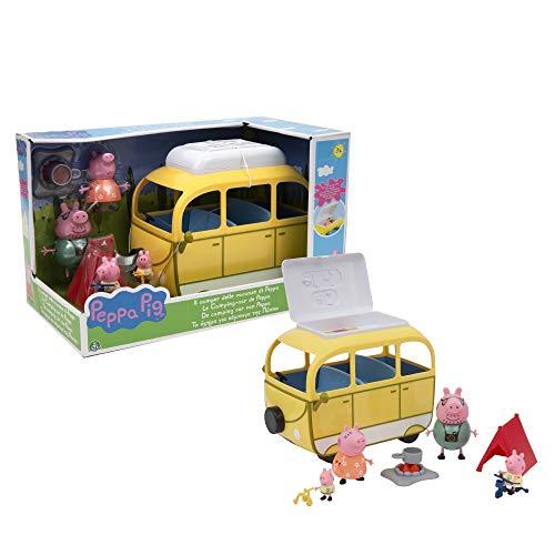 Peppa Pig, Camping-Car con Tienda de campaña y 4 Personajes, Figuras de Familia con Ropa de Vacaciones, Bicicletas, Luces de Campamento y Accesorios, Juguete para niños a Partir de 3 años, PPC46