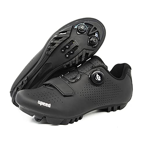 Scarpe da Ciclismo per Le Donne Uomini SPD Road Bike Shoes Spin Shoestring Ridingcycle Shoes Compatibile con SPD Look Delta Cleat,Nero,44 EU
