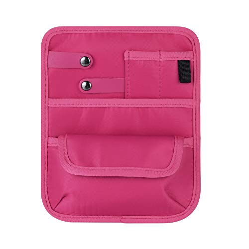 Beautyflier Nylon 4 Pockets Nurse Organizer Bag Pouch for Accessories Tool Case Medical Care Kit CASE ONLY Hot Pink 6 Pocket