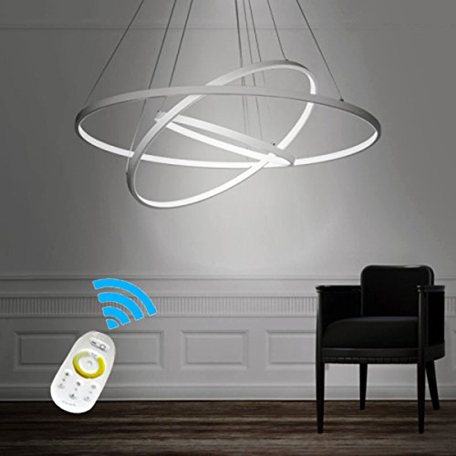 LightInTheBox Dimmable 90W Pendant Light Modern Design LED Three Rings Chandeliers White Color Voltage=110-120V with Remote Control