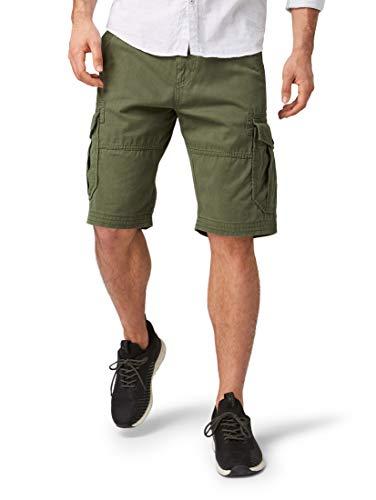 TOM TAILOR Herren Cargo Baumwolle Shorts, Grün (Dark Thyme 10573), 31