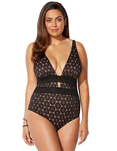 Swimsuits for All Women's Plus Size Lace Plunge One Piece Swimsuit 18 Black Lace