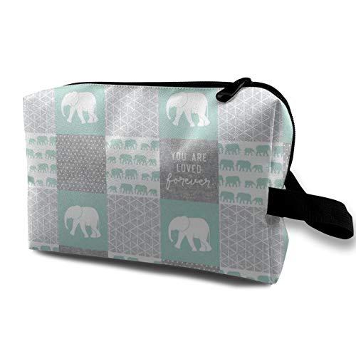 Kosmetiktasche für Reisen, Elefantenmotiv, wasserdicht, mit Reißverschluss, 12,4 x 16,5 x 25,4 cm