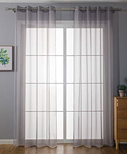 2er-Pack Ösen Gardinen Transparent Vorhang Set Wohnzimmer Voile Ösenvorhang Bleibandabschluß HxB 245x140 cm Grau, 203322