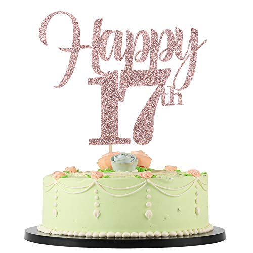 LVEUD Flash Rose Gold Birthday,Wedding ,Anniversary,Special Holiday Anniversary Cake Topper Happy 17th Cake Topper (17)
