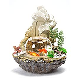 ERMEI Ceramic Glass Aquarium – Rockery Water Fountain Home Living Room TV Cabinet Potted Humidifier Desktop Fish Tank