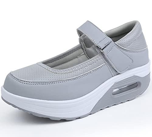 SHADIOA Zapatos Planos para Mujer Zapatillas de Cuero para Mujer Zapatos Transpirables para Mujer Aumentar los Zapatos Casuales para Mujer 35-42,Gris,35