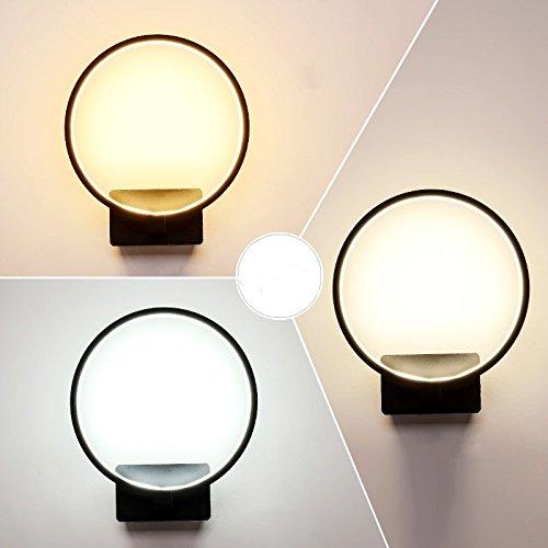 Creative Led moderne minimaliste mur de chevet chambre à coucher Lampe lumière lampe escalier Couloir Couloir Art,Black 24 * 21cm,14 Watts éclairage réglable 3-couleurs