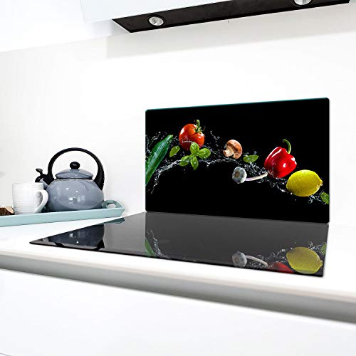 QTA | Keramische afdekking 1-delig 90x52 cm fornuis afdekplaten van glas elektrisch fornuis inductie fornuis bescherming spatbescherming glasplaat snijplank zwart paprika