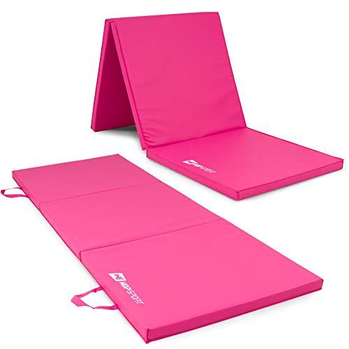 Hop-Sport Turnmatte klappbar Weichbodenmatte Klappbar für zuhause Fitnessmatte Gymnastikmatte in Zwei Stärken 4cm/5cm (Rosa)