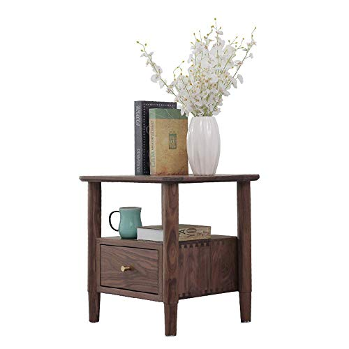 Big Save! CXJC Bedside Table Top Grade Solid Walnut Nordic Modern Nightstand End Table with Drawer f...