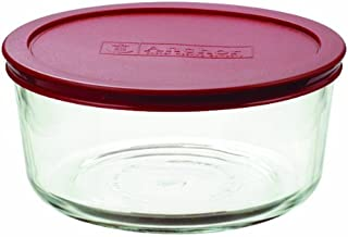 Anchor Hocking 7-Cup Round Food Storage Containers with Red Plastic Lids, Set of 4