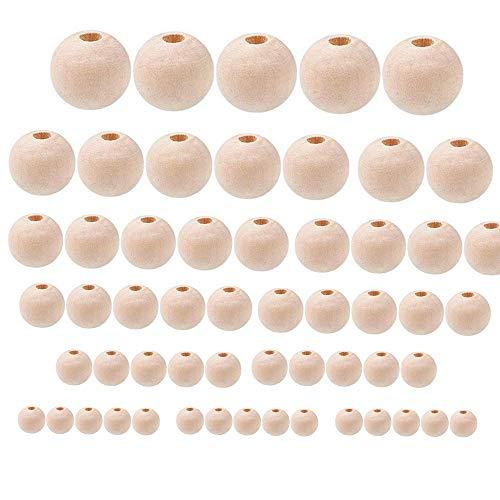 300 cuentas de madera sin terminar de 6 tamaños, surtidas, bolas redondas...