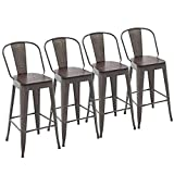 Yongchuang Metal Barstools 30' Seat Height High Back Bar Stools Industrial Kitchen Dining Stools Bar Chairs with Wooden Top Set of 4, Gunmetal