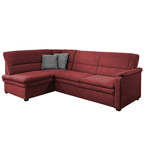 Cavadore Ecksofa Pisoo mit Ottomane links L-sofa, mit Federkern im klassischen Design, 245 x 89 x 161, Flachgewebe Rot (Bordeaux)