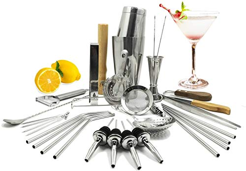 SKYFISH Bar Set 32-Pieces Cocktail Shaker Set: All-In-One Premium Bartender Kit for Home and Bar - Bartender Mixing Barware Set.