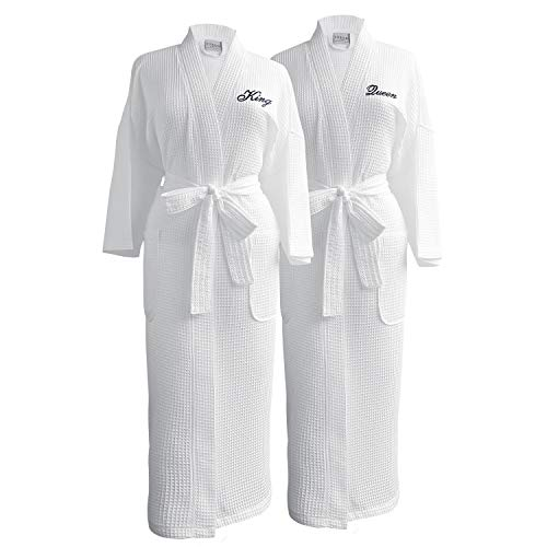 Luxor Linens Waffle Weave Spa Bathrobe - Ciragan Collection - Luxurious, Super Soft, Plush & Lightweight - 100% Egyptian Cotton (King/Queen with Gift Packaging, Black Monogram)