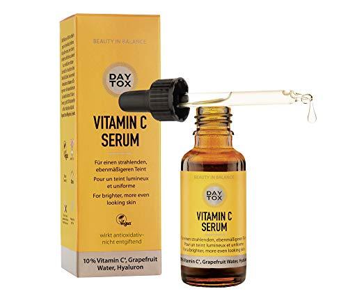 DAYTOX - Vitamin C Serum - Gesichtsserum mit Vitamin C Sofort-Effekt für frischen Glow - Vegan, ohne Farbstoffe, silikonfrei und parabenfrei - 30 ml
