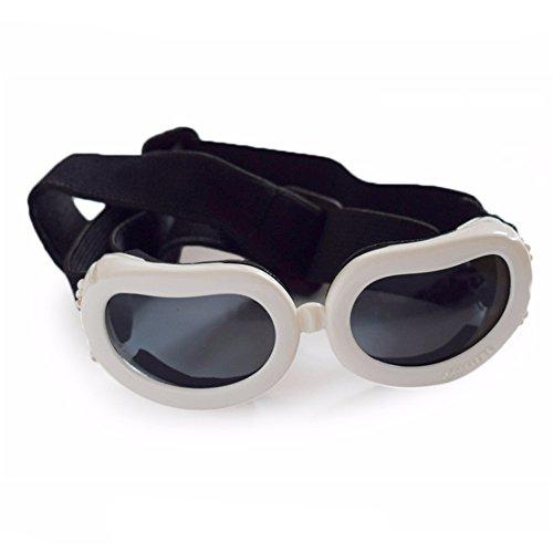 YONFAN Hunde Sonnenbrille UV Schutzbrille Hundebrille für Kleine Hunde, Welpen, Katzen, Haustier Weiß