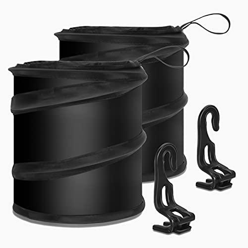 FYY (2 Pack) Car Trash Can, Collapsible Pop Up Trash Bag for Car, Universal Traveling Portable Garbage Bin Waste Basket Bin Rubbish Bin with 2 Car Seat Hook for Garbage to Organize Car Black
