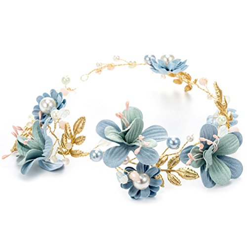 BESTOYARD Blumenmädchen Krone Kinder Perlen Blumenkranz Stirnband mit Quasten Hochzeit Party Haarschmuck