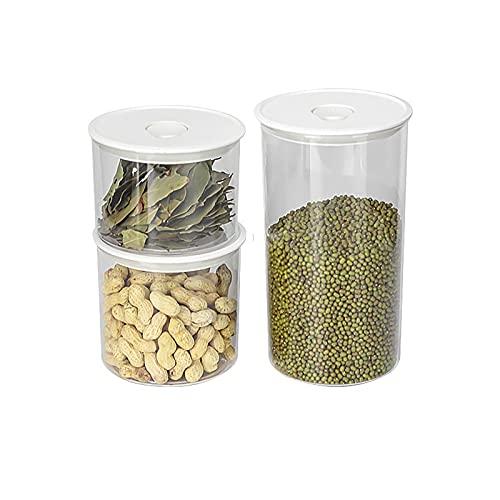 TAMRG Juego de recipientes herméticos de plástico con tapa, recipientes de almacenamiento de cocina, para cereales, harina (forma redonda)
