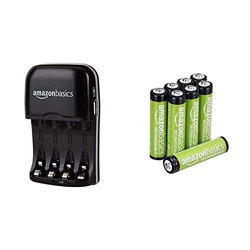 Amazon Basics - Pile Ricaricabili Mini Stilo AAA (8 pezzi) e Caricabatterie con porta USB