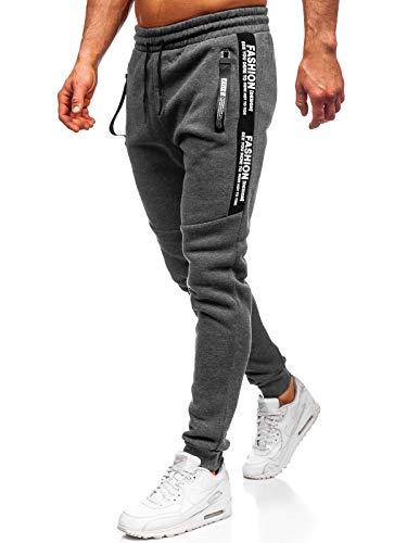 BOLF Herren Jogginghose Sporthose Trainingshose Jogger Sweathose Fitnesshose Jogpants Fußballhose Sweatpants Motiv Print Army Baumwolle Slim Fit Must JX8991 Grau XXL [6F6]