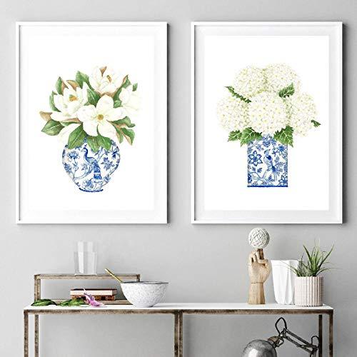 bajbajbaj1 2 uds, Hortensia Blanca, Gardenia, Azul, Azul y Blanco, Botella de Porcelana, Arte de Pared, póster, Pintura, Lienzo, Cuadros, decoración del hogar