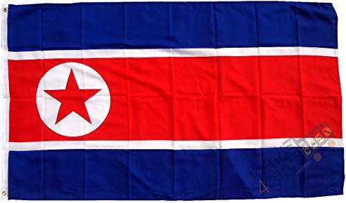 Trends4cents Topkwaliteit - vlag Noord-Korea Nord Korea, 250 x 150 cm, extreem scheurvast, geen goedkoop Chinees, stofgewicht ca. 100 g/m2, zeer robuust, extra sterke messing oogjes.