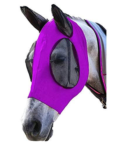 Spielen Máscara estándar de malla de caballo con orejas, máscara de malla de lycra, máscara de malla suave anti-UV con orejas protección UV para funda de caballo (púrpura)