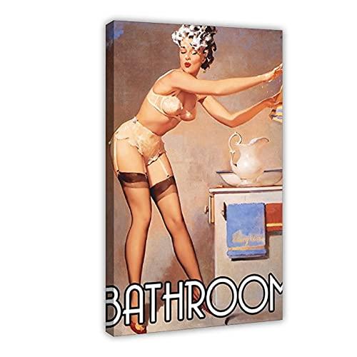 Placa de pared personalizable, diseño de champú con pinup en la cara, diseño vintage retro y vintage, 40 x 60 cm