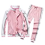 LBL Women's Fashion Tracksuit Set Outfits Zipper Jacket & Sweatpants Jogging Suit 2 Piece Pink M