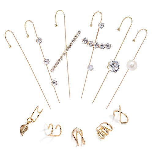 Pendientes de gancho para mujer y niña, diseño de escalador único, para cartílago y oreja, con perlas simples y circonitas cúbicas.