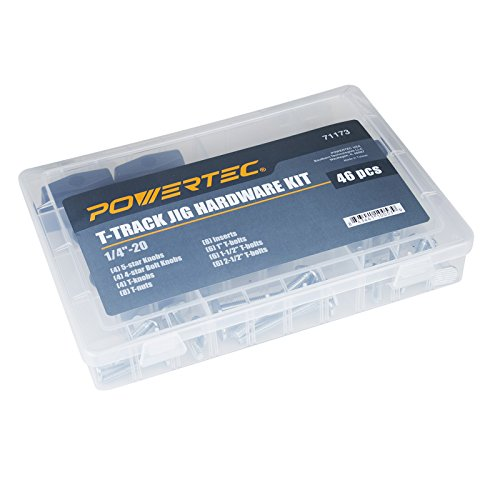 POWERTEC 71173 Jig and Fixture T-Track Hardware Kit w/Knobs and 1/4-20 Threads   46 Piece Set