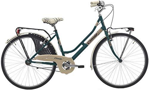 Cicli Cinzia Bicicletta 26' Citybike Donna Friendly, Senza Cambio, V-Brake Alluminio, Verde Petrolio