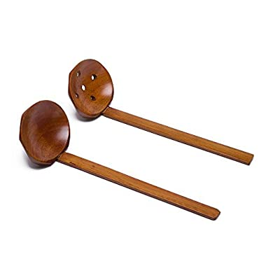 Japanese 8.5  Handcrafted Wooden Soup Spoon Ramen Ladle Strainer, Wooden Hot Pot Spoon Strainer Kitchen Tool Set of 2