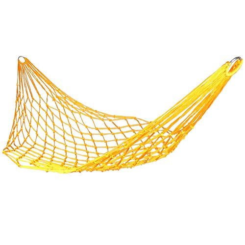 Anjing Nylon Rope Hammock Mesh Thickened Thick Net Bed Hammock Outdoor Net Pocket Leisure Camping Hammock Yellow