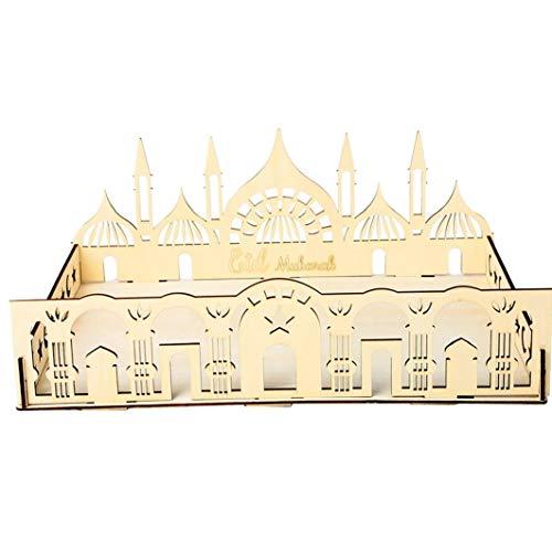 Madera Artística Partido Eid Mubarak bandeja de servir Decoración Bandeja Castillo Vajilla ornamento para postre de la galleta, la artesanía del regalo, regalo de Eid Mubarak