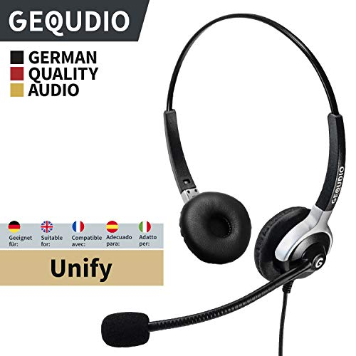 GEQUDIO Headset geeignet für Unify ® OpenStage 30 40 80 80 OpenScape Telefone mit RJ-Anschluss, mit Kabel, 80g leicht