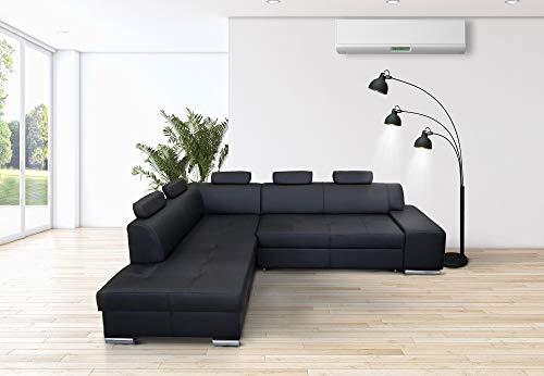 Quattro Meble Schwarzes Echtleder Ecksofa London PIK 5z 275 x 200 Sofa Couch mit Bettfunktion und Bettkasten Echt Leder Eck Couch große Farbauswahl (Ecke Links)