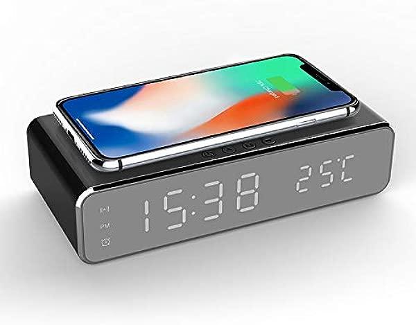DAYUANDIAN Wireless Charging Alarm Clock 2 In 1 Desktop Digital Thermometer Clock Hd Mirror Clock Qi Wireless Charging Fast Charger
