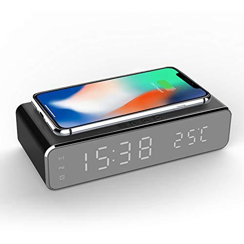 Despertador de carga inalámbrica negro noche moderno reloj despertador digital 2 en 1 moderno reloj despertador digital con cargador inalámbrico Qi y termómetro