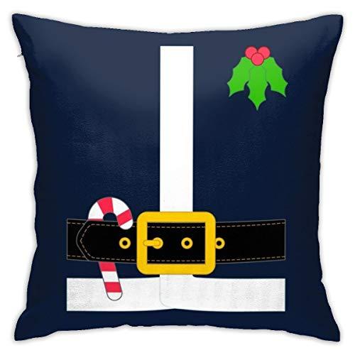 HONGYANW - Funda de almohada con hebilla de Papá Noel, impresión de doble cara, funda de almohada con cremallera oculta, hermoso patrón impreso de 45,7 x 45,7 cm