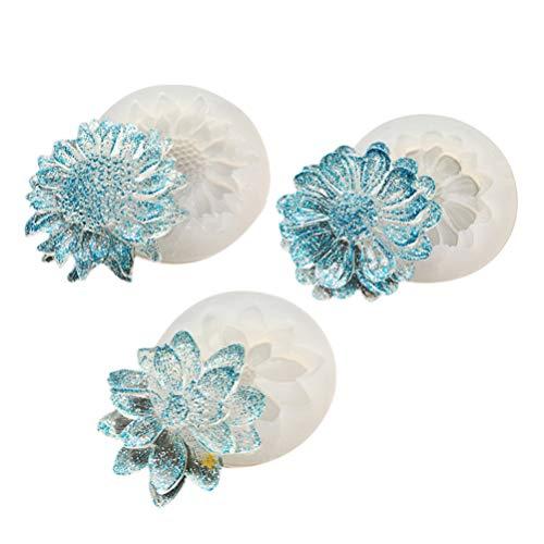 Heallily 3 piezas de moldes de resina con forma de flor de silicona fundida DIY forma de epoxi cristal gota forma collar colgante pendientes artesanía joyas forma de silicona